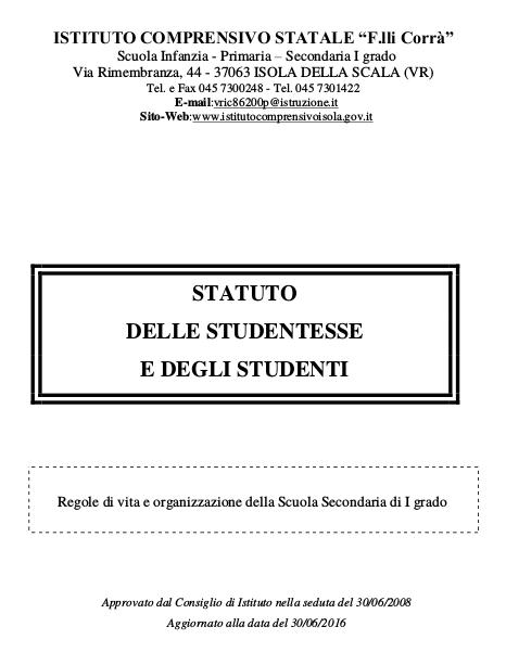 Statuto delle studentesse e degli studenti.